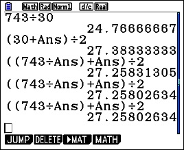 The square root of 743 computed using the algorithm discussed in the post. The third iteration (fourth answer) is correct to 10 digits.