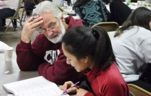 Robert Vriesman helping a student at LACES Calculus Camp 2015.